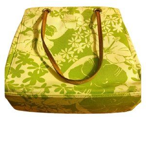 Togo floral green canvas tote purse